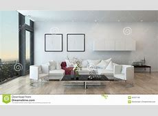 Modern Living Room In High Rise Condominium Stock