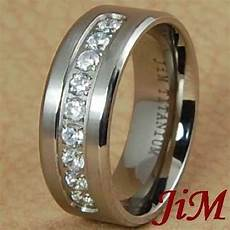 8mm titanium mens ring diamond wedding band bridal jewelry brushed size 6 13 ebay