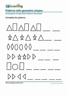 patterns functions and algebra worksheets pdf 442 patterns with geometric shapes kindergarten simple math patterns worksheet printable pdf