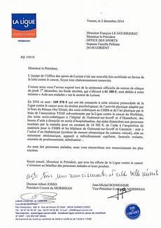 Dons Aux Associations Sportives Lettre Remerciements Ligue Contre Le Cancer Morbihan La