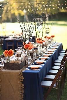 orange wedding table burlap table runner wood boxes