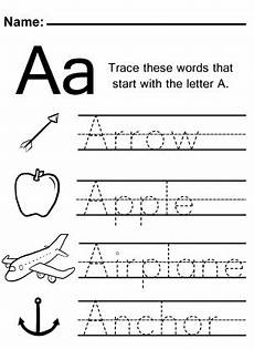 letter a tracing worksheets for kindergarten 23436 trace the letter a worksheet with images alphabet worksheets preschool kindergarten