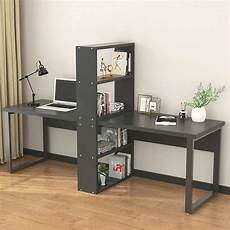 large home office furniture computer office desk with shelves for two person extra