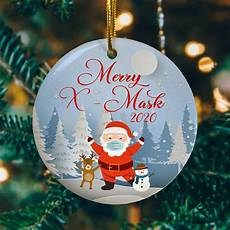 2020 christmas ornament merry mask 2020 funny santa claus wearing mask cubebik