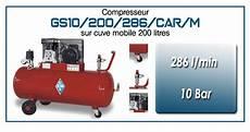 compresseur 200 bar compresseur 224 courroie gs10 286 l min sur cuve mobile 200