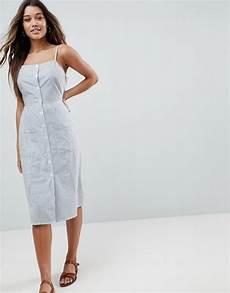 asos design asos stripe button through linen midi sundress