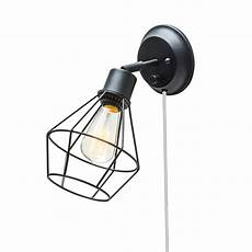 globe electric company adison 1 light plug in industrial cage wall sconce with hardwire