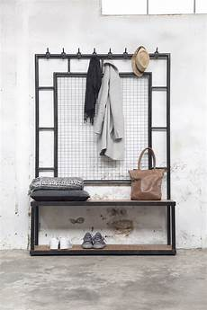 industrie garderobe stoer mit sitzbank metall schwarz giga