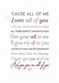 And Me Malvorlagen Lyrics All Of Me Song Lyrics Print Legend Prints