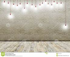brick wall with light bulbs background stock illustration