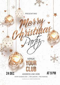 merry christmas party invitation card with hanging baubles stars and snowflakes decorated