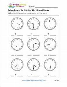 time worksheets hour and half hour 2913 telling time to the half hour 2 9 clocks