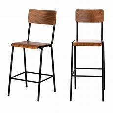 2 chaises de bar m 233 tal et bois 67cm drawer arlet drawer