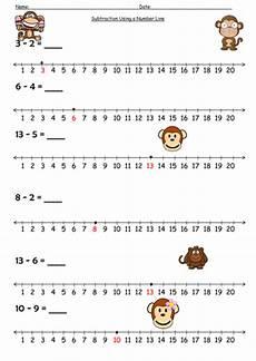 number line subtraction worksheets ks1 number line subtraction monkey by barang teaching