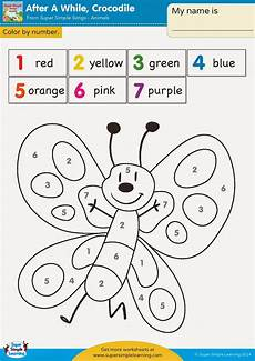 free simple color by number worksheets 16325 time