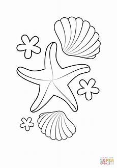 Ausmalbilder Fische Muscheln Starfish And Shells Coloring Page Free Printable