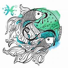 zodiac sign pisces horoscope circle watercolor stock