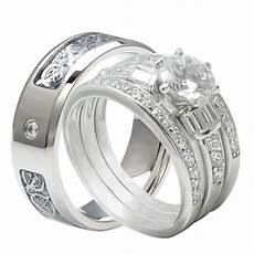 4pcs his and hers tungsten 925 sterling silver wedding