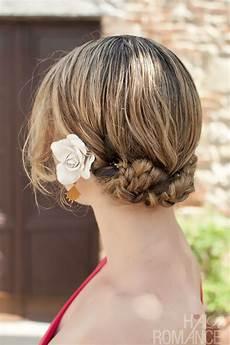 braided twist pin mini bun hairstyle tutorial on location hair romance