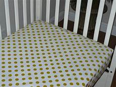 crib fitted sheet gold polka dot white cotton