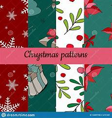 of four christmas patterns merry christmas seamless pattern handdraw vector stock vector