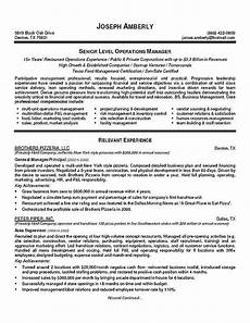 operations manager manager resume executive resume job