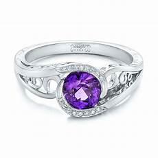 custom purple sapphire and diamond engagement ring 102080
