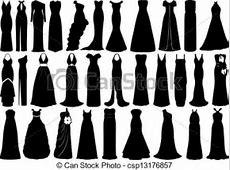 Set of dresses isolated on white.