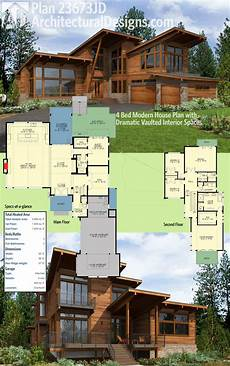 modern house plans architectural designs 4 bed modern house plan 23673jd has dramatic