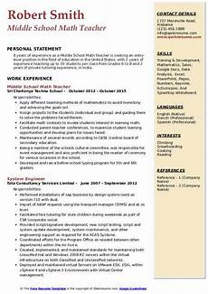 middle school math teacher resume sles qwikresume