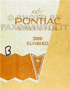 car owners manuals free downloads 1983 pontiac sunbird electronic toll collection 1983 pontiac j2000 sunbird repair shop manual original