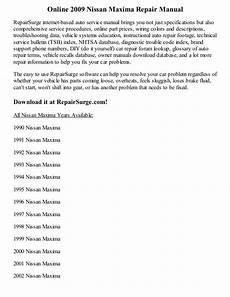 free auto repair manuals 2009 nissan maxima on board diagnostic system 2009 nissan maxima repair manual online