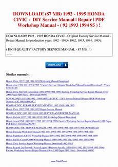 service and repair manuals 1992 acura integra head up display 87 mb 1992 1995 honda civic diy service manual repair workshop manual 92 1993 1994 95 by nana