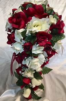9 piece package burgundy red ivory silk wedding flowers bridal bouquet ebay