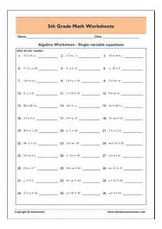 algebraic equations worksheet for grade 6 8741 free fifth grade math worksheets in pdf edumonitor