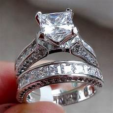elegant women 925 silver princess cut white topaz ring set wedding gifts jewelry ebay