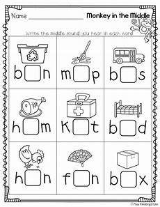 vowel letters worksheets for preschool 23657 monkey in the middle medial sound practice kinderland collaborative print