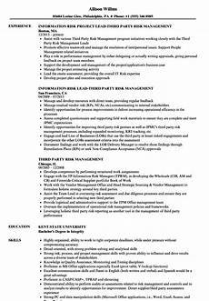 third party risk management resume sles velvet