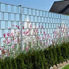 Sommerblumen Doppelstabmatten Sichtschutzstreifen