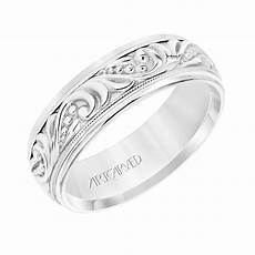 artcarved wedding rings artcarved 7mm 14k white gold engraved paisley pattern band