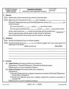 divorce decree with minor or dependent children hawaii free download