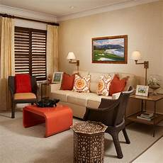 orange blue and brown living room