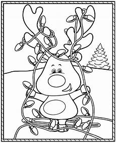 coloring page for with a clumsy raindeer