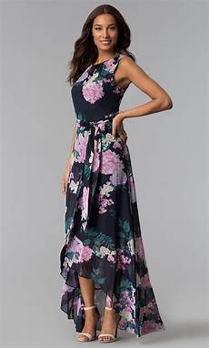 print high low wedding guest dress with belt promgirl