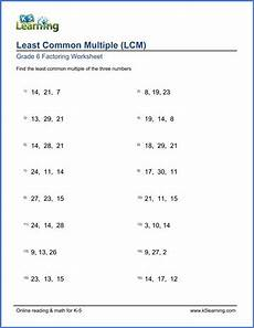 grade 6 math worksheet least common multiple lcm of 3 numbers k5 learning