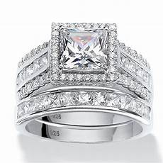 3 50 tcw square cubic zironica two piece halo bridal ring in platinum over sterling silver