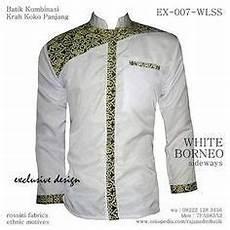 koko batik putih batik koko lengan panjang putih batik koko casual kemeja batik kombinasi putih batik