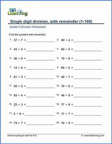 division fractions worksheets grade 5 6597 grade 5 math worksheets division with remainders 1 100 k5 learning