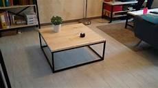 table basse en bois table basse carr 233 e style industriel fer et bois etsy