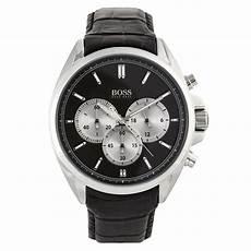 boss uhren herren schwarz buy hugo black 1512879 black leather s at